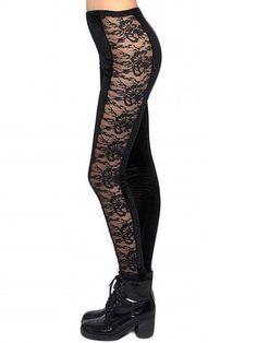 """Lace Panel"" Leggings by Marialia (Black) #InkedShop #lace #leggings #style #fashion #bottoms #pants #womenswear"