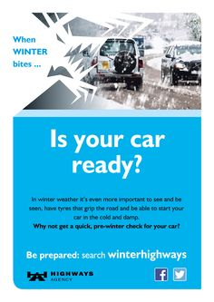 Check your car is ready before winter - or at least before the bad weather sets in  (snowy roads)