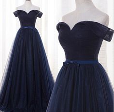 Beautiful Navy Blue Off Shoulder Tulle Long Prom Gowns, Off Shoulder Prom Dresses, Prom Dresses 2017