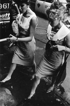 Garry Winogrand: New York, 1961 | NYC | friends walking to work | 1960's fashion | in transit | black  white vintage photography | friendship | step