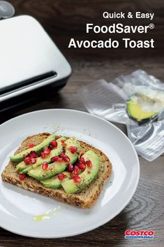 Try a twist on avocado toast – and save half the avocado for later – with FoodSaver®. Easy Video, Quick Easy Meals, Healthy Eats, Avocado Toast, Food Videos, Brunch, Breakfast, Sweet, Recipes