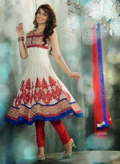 Cream Anarkali Salwar Kameez For Weddings . Shop at - http://www.gravity-fashion.com/cream-anarkali-salwar-kameez-for-weddings.html