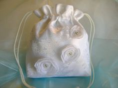 BRIDAL DRAWSTRING Wedding Bag Handmade Keepsake by globodesigns, $28.99