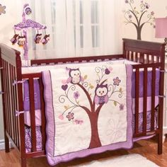 Plum Owl Meadow Bedding by Baby's First - Owl Baby Crib Bedding - 39403--311-crst-powl