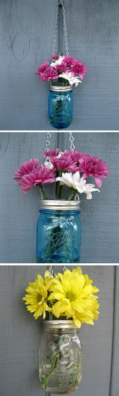 Mason jar hanging vase #product_design