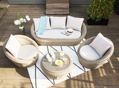 Salon de jardin bas 5 places PORTEFINO Ermanno G : canapé 3 places + 2 fauteuils résine tressée prix Salon de jardin Delamaison 1 199.00 €
