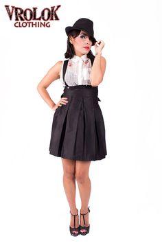 Suspender skirt, black skirt, corset skirt, skater skirt, ajustable straps, women's skirts, black pleated skirt, high waisted skirt