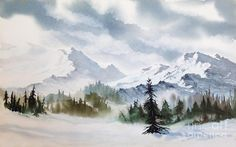 Rugged Wild by Teresa Ascone Rugged Wild. watercolor, 13 x 21 Rugged Wild by Teresa Ascone Rugged Wild. watercolor, 13 x 21 Art Aquarelle, Watercolor Painting Techniques, Watercolor Landscape Paintings, Watercolor Art Paintings, Watercolor Artists, Watercolor And Ink, Watercolors, Mountain Landscape, Winter Landscape