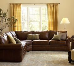 Pottery Barn Pearce Leather L-Shape Sectional with Wedge Living Room Decor Brown Couch, Living Room Sectional, Living Room Paint, New Living Room, Living Room Sets, Living Room Designs, Living Room Furniture, Leather Sectional Sofas, Leather Sofa