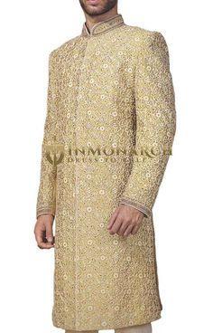 Mens Golden Machine Embroidered Wedding Sherwani