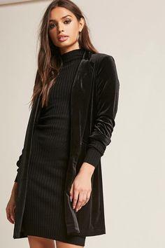 Product Name:Velvet Longline Blazer, Category:CLEARANCE_ZERO, Price:28