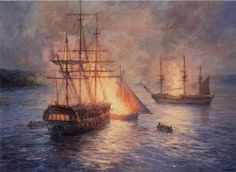 """Fireships on the Hudson River. Night attack on HM ships 'Phoenix' and 'Rose,' August 1776,"" by Geoff Hunt."