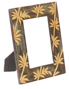 Bulk Wholesale Handmade 4x6 Wooden Dark-Green Photo-Frame / Picture Holder with Cone-Painting in Golden Leaf Design – Ethnic-Look Home Décor from India