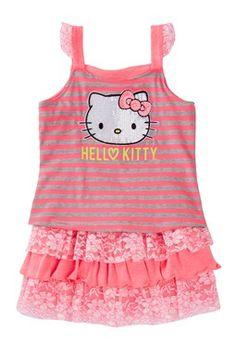 Lace Trim Stripe Tank & Ruffle Skirt 2-Piece Set (Little Girls)