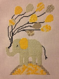 Elephant with balloons cross stitch finished article