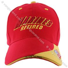 Ball Cap: Marines Retired - red and gold
