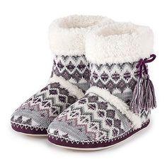 Isotoner Ladies Fair Isle Bootie Slippers | Debenhams