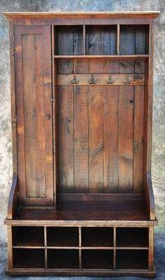 Beekeeper's Cottage — Reclaimed Barnwood Mudroom Piece with Door #beekeepingbusiness #beekeeper
