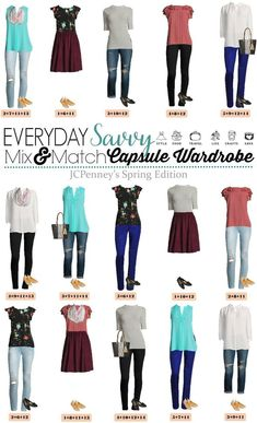 New JCPenney Capsule Wardrobe for Spring. This capsule is fun and includes floral, stripes and pops of color. Great outfits for every day and date night. via @everydaysavvy