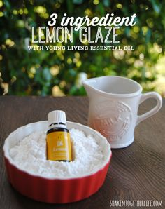 3 ingredient lemon glaze with Young Living lemon essential oil - amazing over my cherry pie dumplings!