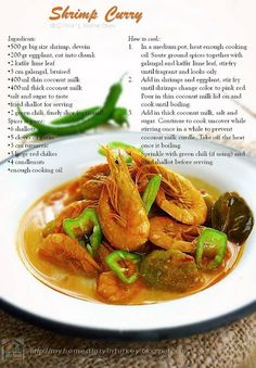 Citra's Home Diary: Kare Udang terong / Shrimp and eggplant curry- my mom's style Entree Recipes, Side Recipes, Other Recipes, Seafood Recipes, Salad Recipes, Dinner Recipes, Turkish Recipes, Indian Food Recipes, Ethnic Recipes