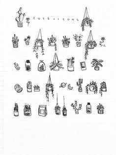 Icons: Pflanzen zeichnen - Doodles