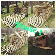 Phase 1 of a Pallet Playhouse. No directions, made by one little girls wonderful grandfather!