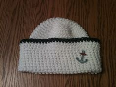 Items similar to Crochet Sailor Hat - Cotton on Etsy Crochet Baby Hats, Hat Making, 3 Months, Blue Stripes, Photo Props, Sailor, Boy Or Girl, Pure Products, Anchors