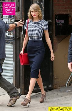 Even though she just worked out the star looked perfectly polished, rocking a vintage-looking gingham dress and a bold red purse which matched her lips to a tee.