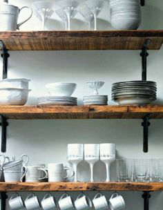 Reclaimed From Farm Metal Brackets For Dining Room Laundry Shelving