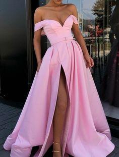 Light Pink Evening Dress Satin A-line V-neck Satin Off Shoulder Long Prom Dresses Sexy Party Dress on Luulla Pink Evening Dress, Formal Evening Dresses, Elegant Dresses, Strapless Dress Formal, Evening Gowns, Pink Prom Dresses, Homecoming Dresses, Wedding Dresses, Sexy Dresses