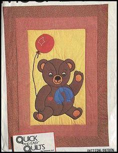1980s Adorable Giant Teddy Bear + Balloon Applique Crib Quilt 43x59 Easy Pattern #McCalls7810