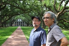 """Producer/Director Gary Leva (left) and Cameraman/Grip Robert Consentino (right) on location at Oak Alley Plantation for """"Old South, New South"""" 