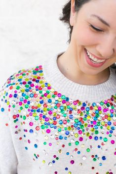 DIY Anthropologie Inspired Sequin Sweater raquo Lovely Indeed Diy Gifts For Mom, Best Mothers Day Gifts, Sequin Shirt, Sequin Sweater, Meme Design, Diy Design, Anthropologie Diy, Tricot Simple, Black Lace Choker