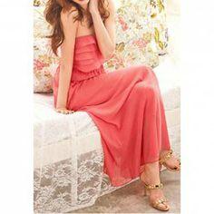 $13.66 High Waistline Multi-layered Flounces Bohemian Style Chiffon Solid Color Dress For Women