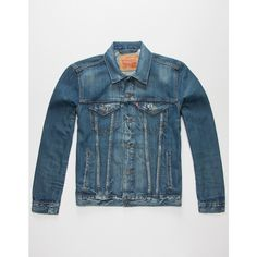 Levi's Danica Mens Denim Jacket ($70) ❤ liked on Polyvore featuring men's fashion, men's clothing, men's outerwear, men's jackets, indigo denim, mens outerwear, mens jackets, mens trucker jacket, mens denim jacket and mens jean jacket