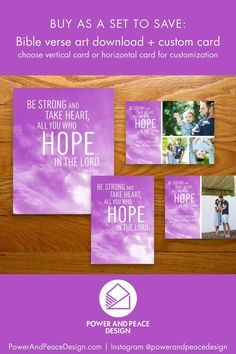 Be strong and take heart, all you who hope in the Lord. Psalm 31:24 The clouds sweeping upward in this design serve as a visual reminder to look to God for our hope. Buy this Purple Christmas card and art set and share an uplifting message of encouragement. #Psalm #Psalm31 #purple #lavender #hope #hope #Jesus #Bible #Scripture Lavender Walls, Psalm 31, Message Of Encouragement, Uplifting Messages, Jesus Bible, Bible Verse Art, Purple Christmas, Purple Art, Pink Sunset