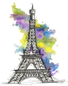 Eiffel Tower drawing and water color background