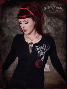 """Be still my heart"" cardigan by http://www.se7endeadly.com Photo by Catfightstudios, model Dayna DeLux."