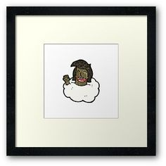 man with head in clouds cartoon