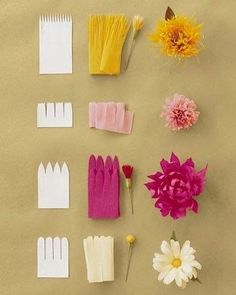 Jolies fleurs en papier crépon A small activity sheet to easily make flowers crepe paper or tissue paper. Use the … Paper Flowers Craft, Giant Paper Flowers, Flower Crafts, Diy Flowers, Wedding Flowers, Real Flowers, Crepe Paper Decorations, Birthday Decorations, Paper Flowers How To Make