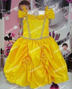 vestido infantil princesa bela, vestido da bela, vestido infantil bela, vestido de princesa bela, fantasia da bela, vestido da bela e a fera - KIBELLABABY