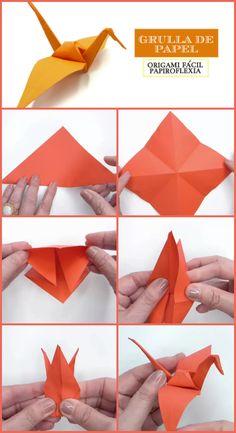 Grulla De Papel Origami Fácil Papiroflexia Origami Cube, Origami Bow, Origami Paper Crane, Origami Bookmark, Origami Butterfly, Origami Easy, Origami Architecture, Origami Decoration, Christmas Origami