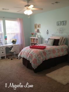 Little girl to tween bedroom at 11 Magnolia Lane, done in soft aqua, pinks, and browns. Love the ballet barre-tutorial included!