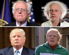 Back to the Presidency Candidate Bernie Sanders vs. Dr. Emmett L. Brown Candidate Donald Trump vs. Biff Tannen