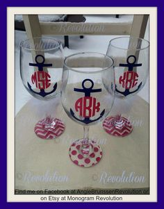 Anchor Monogrammed Wine Glass, Monogram Anchor Glass, Wine Glass with Anchor and monogram bride gift birthday gift bridal party big little on Etsy, $12.00