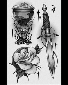 Flower Tattoo Drawings, Tattoo Sketches, Drawing Sketches, Neo Traditional Art, Dagger Drawing, Asian Dragon Tattoo, Traditional Tattoo Flowers, Graffiti Girl, Occult Art