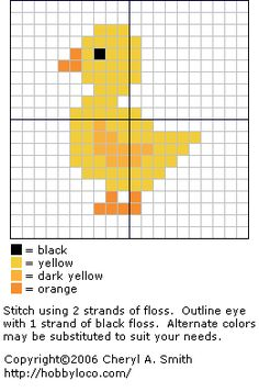 cross stitch patterns free printable | ... color printable pattern yellow duckling for color printable pattern