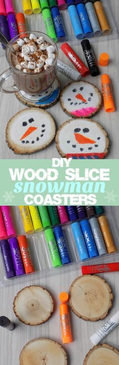 DIY Wood Slice Snowman Coasters - Fun Kids Craft Handmade Holiday Gift Idea These DIY Wood Slice Snowman Coasters are such a fun kids craft to do with the kids this holiday, and they make great homemade / handmade holiday gifts too!  My kids love to craft gifts during the holiday season; especially my 9 year old daughter. Over the Thanksgiving break, she made these adorable DIY Wood Slice Snowman Coasters for her teacher. She plans to gift them to her with a special mug and hot cocoa mix.
