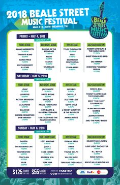 Beale Street Music Festival 2018 Stage Schedule